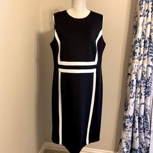 Women's Calvin Klein Black and White Color Block Sheath Dress- size 16W